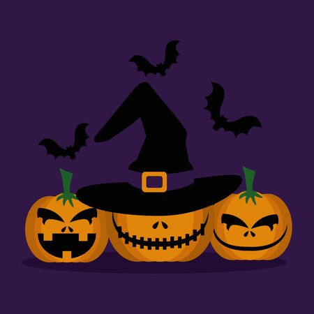 halloween pumpkins with hat witch and bats flying vector illustration design Illustration