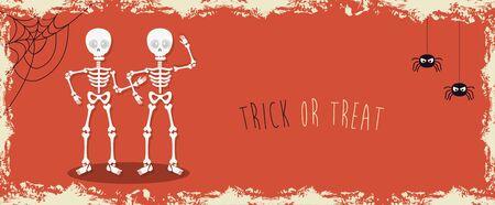 poster of halloween with skeletons with spiders vector illustration design Standard-Bild - 132559197