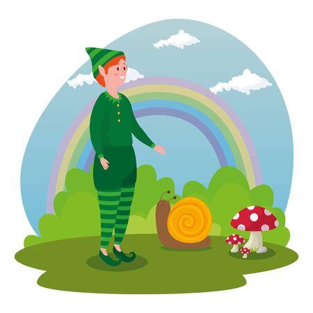 elf with snail in scene fairytale vector illustration design Standard-Bild - 132559199