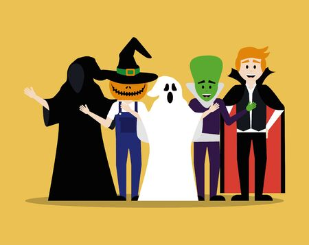 young men disguised for halloween vector illustration design