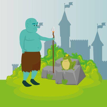 ogre with spear in scene fairytale vector illustration design