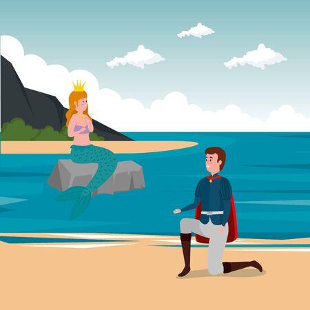 prince with mermaid in scene fairytale vector illustration design Standard-Bild - 132559150