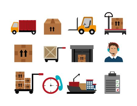bundle of delivery service and set icons vector illustration design