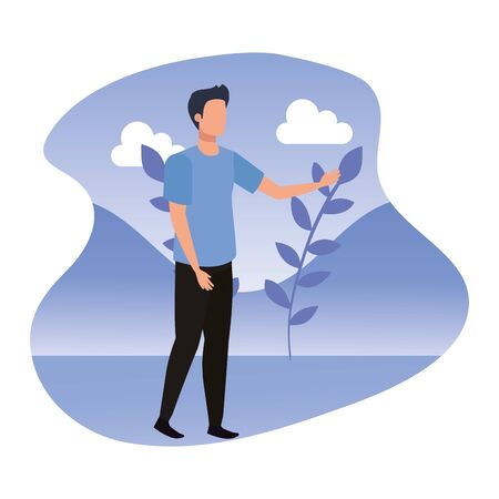young man in landscape avatar character vector illustration design Ilustracja