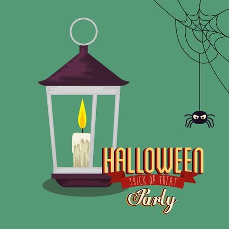 poster of party halloween with lantern and spider vector illustration design