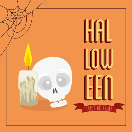 poster of halloween with skull and candle vector illustration design Standard-Bild - 132559157