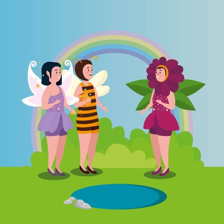 women disguised bee and flower with fairy in scene magic vector illustration design Illustration