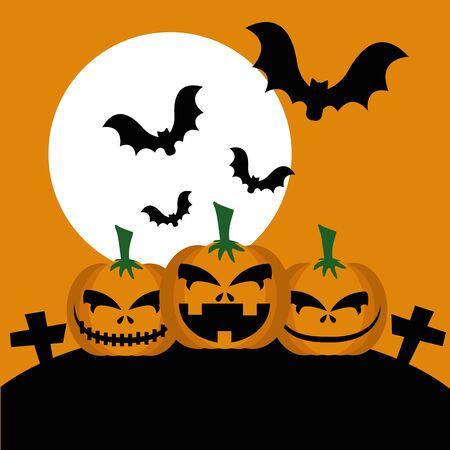 halloween pumpkins in cemetery with bats flying vector illustration design
