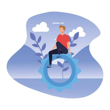 young man with gear pinion in landscape vector illustration design