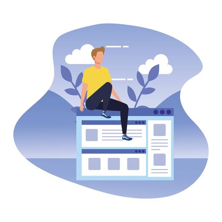 young man with web page in landscape vector illustration design