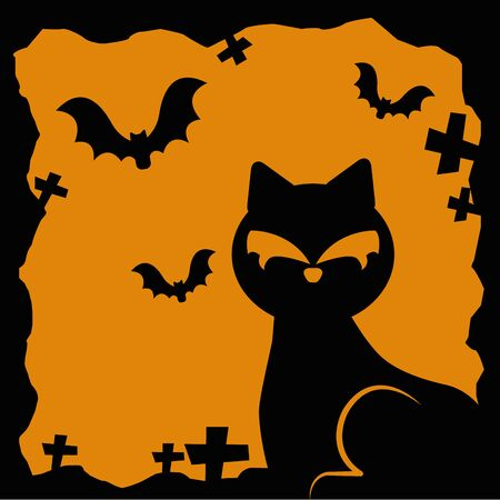 halloween cat with bats flying vector illustration design Ilustração
