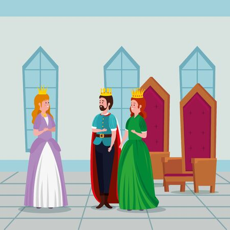 princess with king and queen in castle vector illustration design Standard-Bild - 132559159