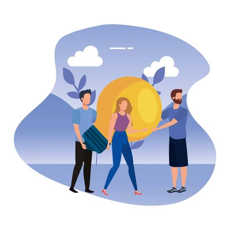 young people with light bulb in landscape vector illustration design