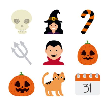 bundle halloween with set icons vector illustration design Standard-Bild - 132559167