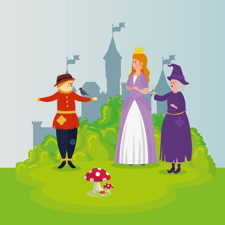 princess with scarecrow and witch in scene fairytale vector illustration design Standard-Bild - 132559120