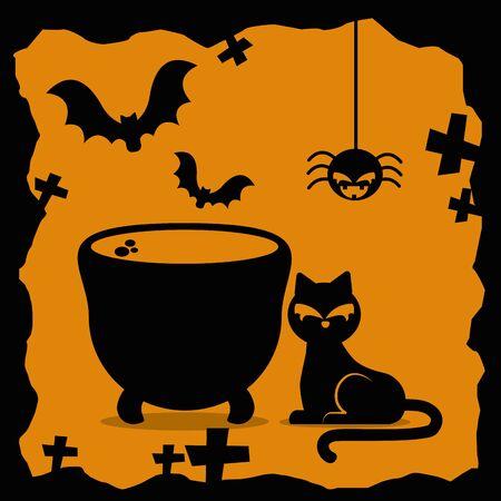 halloween cat with cauldron and icons vector illustration design Illusztráció