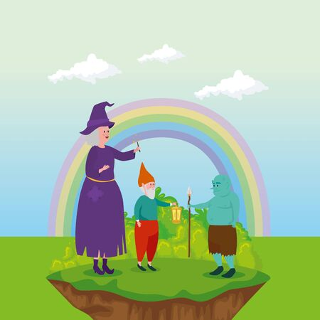 witch with ogre and dwarf in scene fairytale vector illustration design