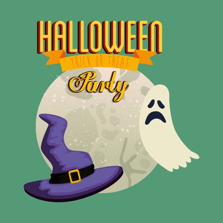 poster of party halloween with ghost and hat witch vector illustration design