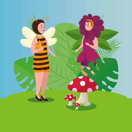 women disguised of bee and flower in scene fairytale vector illustration design Иллюстрация