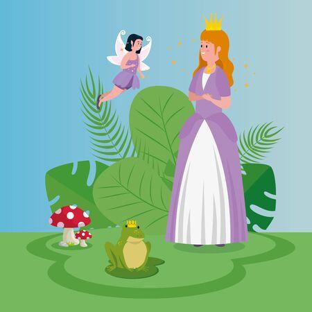 beautiful princess with fairy flying in scene magic vector illustration design Standard-Bild - 132559132