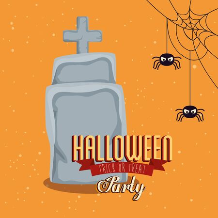 poster of party halloween with tombstone vector illustration design Ilustracja