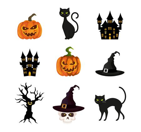 bundle of halloween with set icons vector illustration design Illustration