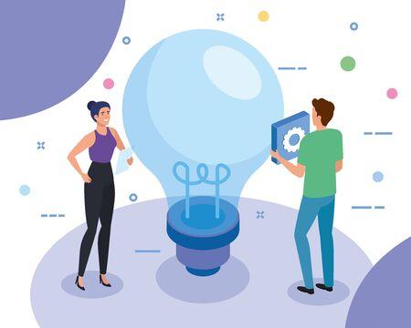 teamwork people with light bulb vector illustration design Ilustracja