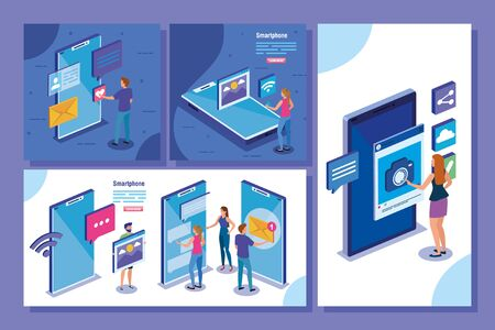 set of scenes with smartphone and social media icons vector illustration design Ilustracja