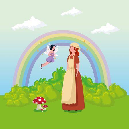 princess with fairy flying in scene fairytale vector illustration design Standard-Bild - 132559143