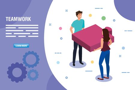 teamwork people with puzzle piece vector illustration design