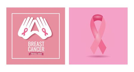 set of poster breast cancer awareness month with decoration vector illustration design Ilustracja