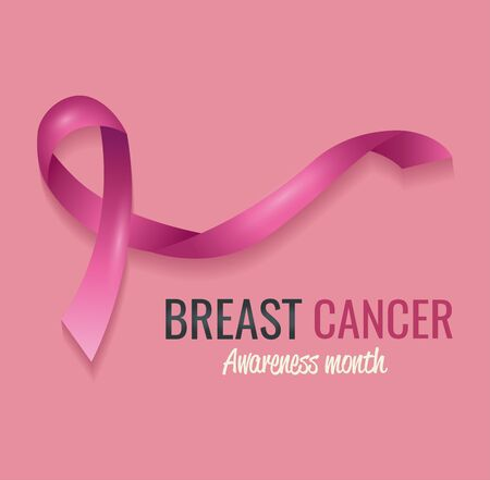 poster breast cancer awareness month with ribbon vector illustration design