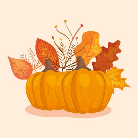 pumpkins with leafs of autumn vector illustration design Ilustração