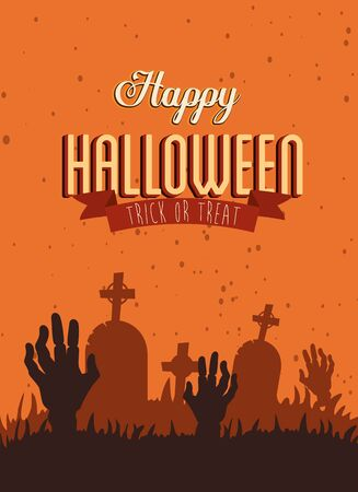 poster happy halloween with hands zombie in cemetery vector illustration design Ilustracja