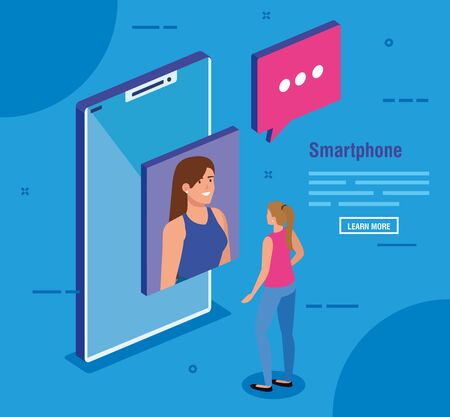 women performing video call with social media icons vector illustration design