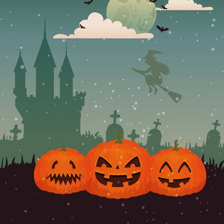 pumpkins with witch flying in scene halloween vector illustration design