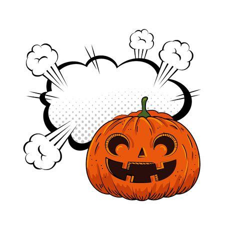 halloween pumpkin with cloud pop art style vector illustration design Ilustracja