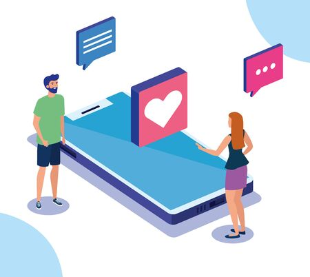 couple with smartphone and social media icons vector illustration design