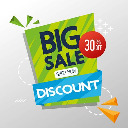 commercial label with big sale discount lettering vector illustration design Illustration