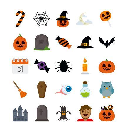 bundle halloween with set icons vector illustration design Standard-Bild - 132559686