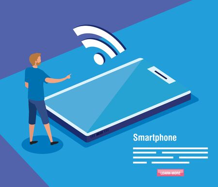 man with smartphone and wireless vector illustration design
