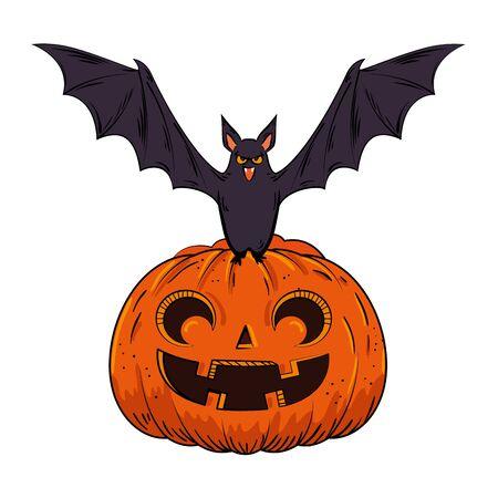 halloween pumpkin with bat pop art style vector illustration design Ilustracja