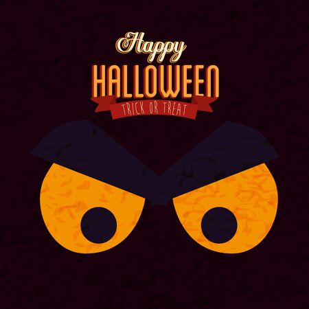 poster of happy halloween with face cat black vector illustration design  イラスト・ベクター素材