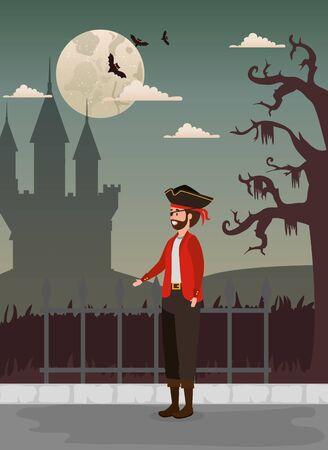 Halloween-Design mit Piraten und Schloss, Vektorillustration