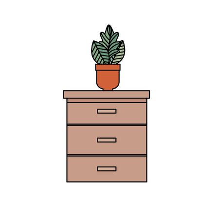 wooden drawer with houseplant icons vector illustration design Illustration