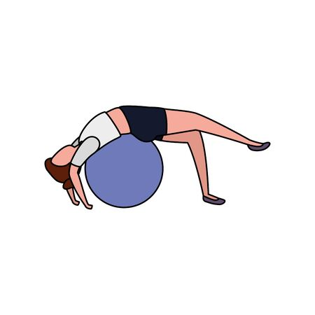 beauty woman practicing pilates with balloon vector illustration design