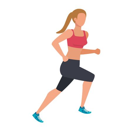 young athletic woman running character vector illustration design