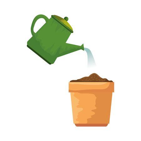 garden sprinkler with plant pot vector illustration design Иллюстрация