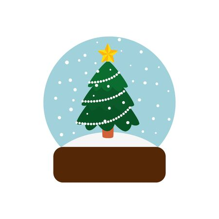 pine tree christmas in crystal ball isolated icon vector illustration design