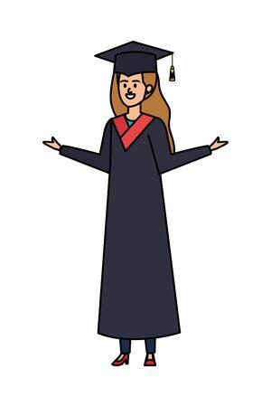 young woman student graduated celebrating vector illustration design Ilustração